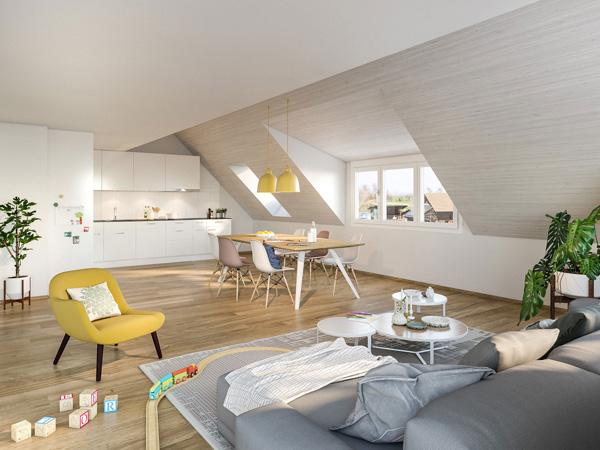 Wohn- und Esszimmer - Mietwohnung C5
